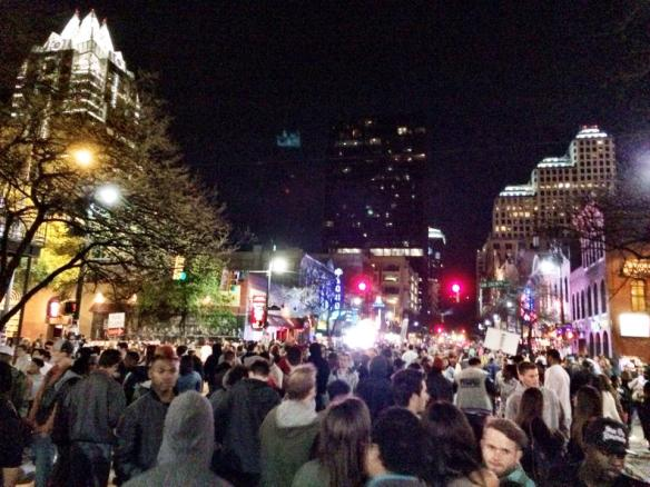 6th Street around 9pm. Madness already, I think this was Thursday night.