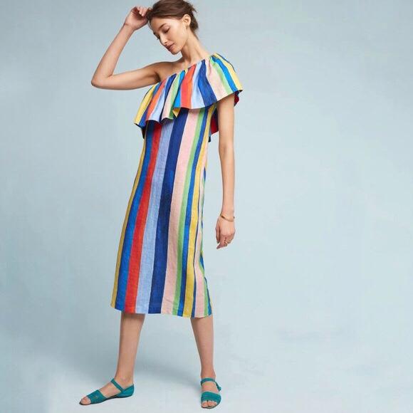 Mara Hoffman One Shoulder Rainbow Dress
