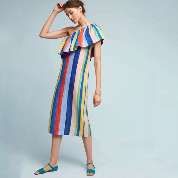 Mara Hoffman One Shoulder Rainbow Dress